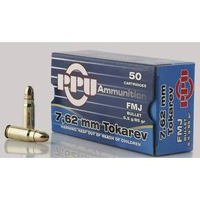 PPU Handgun Ammunition 7.62mm Tokarev 85 gr FMJ 1720 fps 50/ct