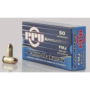 PPU Handgun Ammunition 9mm x 18 Makarov 93 gr FMJ 50/ct