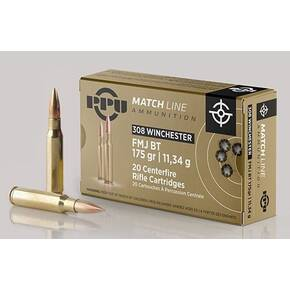 PPU Match Rifle Ammunition .308 Win Match 175 gr FMJ-BT 2590 fps 20/ct