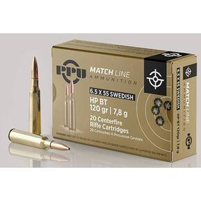 PPU Match Rifle Ammunition 6.5mm x 55 Swedish Match 120 gr HPBT 2723 fps 20/ct