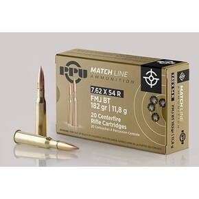 PPU Match Rifle Ammunition 7.62mm x 54R Match 182 gr FMJ-BT 2625 fps 20/ct