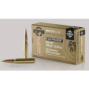 PPU Match Rifle Ammunition 8mm Mauser Match 200 gr FMJ 2300 fps 20/ct