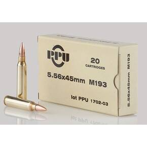 PPU M193 Rifle Ammunition 5.56mm 55gr FMJBT 3240 fps 1000/ct (Case)