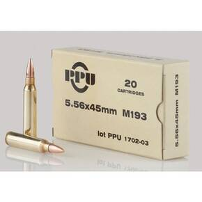 PPU M193 Rifle Ammunition 5.56mm 55gr FMJBT