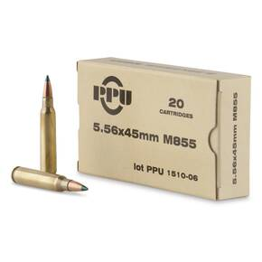 PPU Rifle Ammunition 5.56mm 62 gr FMJ-BT 3050 fps 1000/ct
