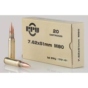 PPU Standard Rifle Ammunition 7.62x51mm M80 145 gr FMJBT 2835 fps 20/ct
