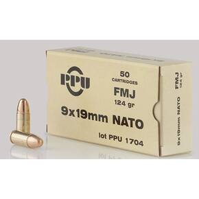 PPU Handgun NATO Ammunition 9mm Luger  124 gr FMJ  1120 fps 50/ct