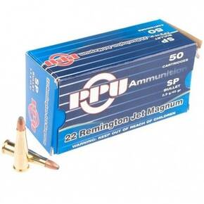 PPU Rifle Ammunition .22 Rem Jet Magnum 45 gr SP 770 fps  50/ct