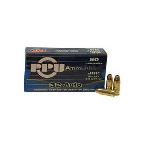 PPU Handgun Ammunition .32 Auto 71 gr JHP 50/Box
