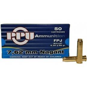 PPU Handgun Ammunition 7.62mm Nagant 98 gr FPJ 740 fps 50/ct