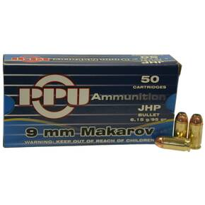 PPU Handgun Ammunition 9mm x 18 Makarov 93 gr JHP 50/Box