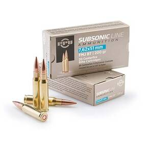 PPU Subsonic Rifle Ammunition 7.62x51mm 200 gr FMJBT 2835 fps 20/ct