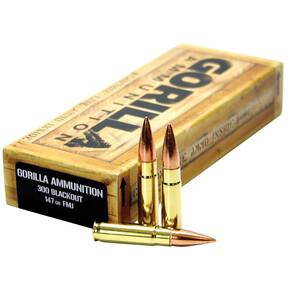 Gorilla Match Rifle Ammunition .300 AAC Blackout 147 gr FMJ 1890 fps 20/ct
