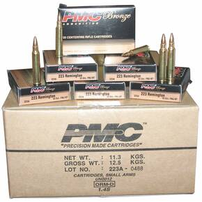 PMC Bronze Rifle Ammunition .223 Rem 55 gr FMJ 3200 fps 1000/ct