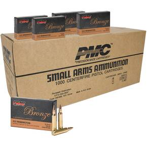 PMC Bronze Rifle Ammunition .223 Rem 55 gr FMJ 2900 fps 1000/ct