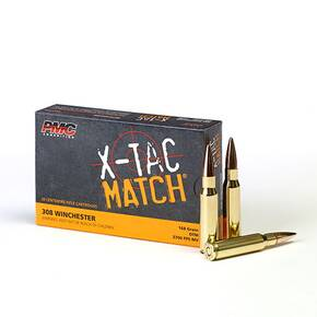PMC X-TAC MATCH Rifle Ammunition .308 Win 168 gr OTM 2700 fps - 20/box
