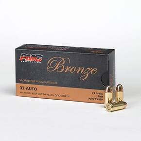 PMC Bronze Handgun Ammunition .32 ACP 71 gr FMJ 900 fps 50/box