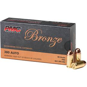 PMC Bronze Handgun Ammunition .380 ACP 90 gr FMJ 920 fps 50/box