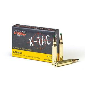 PMC X-Tac Rifle Ammunition 5.56mm 62 gr Green Tip 3100 fps  20/ct