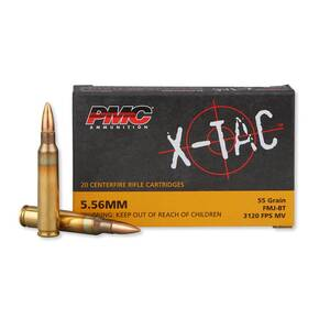 PMC X-Tac Rifle Ammunition 5.56x45mm 55 gr FMJBT 3120 fps - 20/box