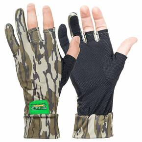 Primos Stretch Fingerless Gloves - Mossy Oak Bottomland Camo OSFM