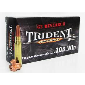 G2 Research Supersonic Trident Rifle Ammunition .308 Win  150 gr Copper Segmented 2960 fps 20/ct