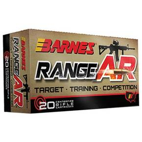 Barnes Range AR Rifle Ammunition 5.56mm 52 gr OTFB 3200 fps 20/ct