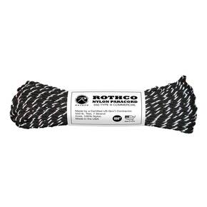 Rothco Nylon Paracord Type III  - 100' 550 lb Black/Reflective