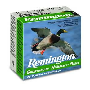 Remington Sportsman Hi-Speed Steel Shotshells 12ga 3 in 1-1/8 oz 1550 fps #4 25/ct
