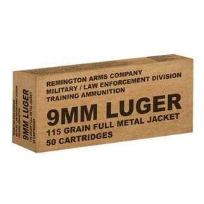 Remington Military/Law Enforcement Training Ammunition 9mm 115 gr FMJ 1145 fps 50/ct