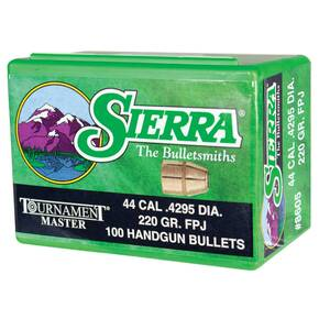 "Sierra Tournament Master Handgun Bullets .44 cal .429"" 220 gr FPJ-MATCH 100/ct"