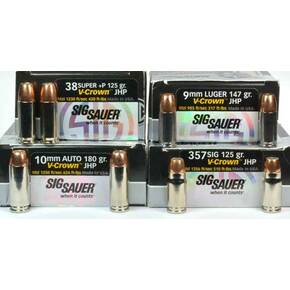 "Sig Sauer V-Crown By Sierra Handgun Bullets 9mm .355"" 124 gr. JHP Sig Sauer V-Crown 100/ct"