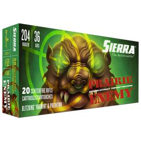 Sierra Prairie Enemy Rifle Ammunition .204 Ruger 36 gr BlitzKing 20/ct