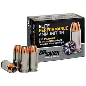 Sig Elite V-Crown Handgun Ammunition 9mm Luger 115 gr JHP 1185 fps 20/ct