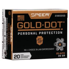 Speer Gold Dot Handgun Ammunition 25 ACP 35 gr HP 900 fps 20/ct