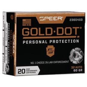 Speer Gold Dot Handgun Ammunition 32 ACP 60 gr HP 960 fps 20/ct
