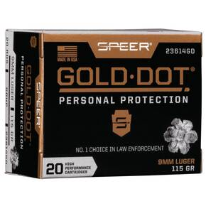 Speer Gold Dot Handgun Ammunition 9mm Luger 115 gr HP 1210 fps 20/ct