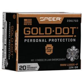 Speer Gold Dot Handgun Ammunition 9mm Luger (+P) 124 gr HP 1220 fps 20/ct