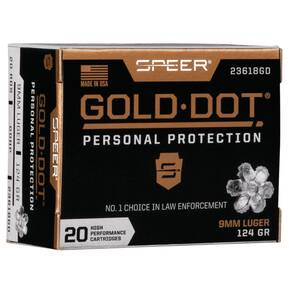 Speer Gold Dot Handgun Ammunition 9mm Luger 124 gr HP 1150 fps 20/ct