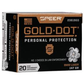 Speer Gold Dot Handgun Ammunition 9mm Luger 147 gr HP 985 fps 20/ct