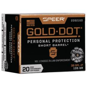 Speer Gold Dot Short Barrel Handgun Ammunition .38 Spl (+P) 135 gr HP 860 fps 20/ct