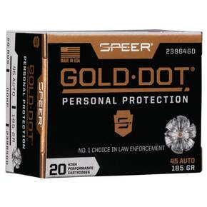 Speer Gold Dot Handgun Ammunition .45 ACP 185 gr HP 1050 fps 20/ct