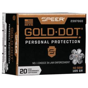 Speer Gold Dot Handgun Ammunition .40 S&W 165 gr HP 1150 fps 20/ct