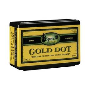 "Speer Gold Dot Personal Protection Short Barrel Handgun Bullets .357 Mag .357"" 110 gr GDHPSB 100/ct"