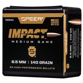 Speer Impact Medium Game Rifle Bullets 6.5mm 140gr TIPPED PLATED CB 50/rd