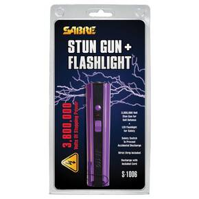 Sabre 3.8 Million Volt Stun Gun with LED Flashlight - Purple