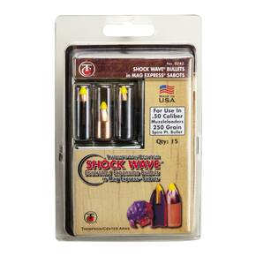 Thompson Center Shockwave Spire Point Polymer Tip Bullets .50 cal Sabot 250 gr 15/ct