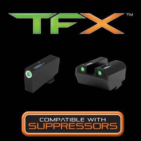 Truglo TFX Tritium/Fiber-Optic Day/Night Sight Set fits GLOCK - White Outline Front/Green Rear