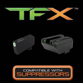 Truglo TFX Tritium/Fiber-Optic Day/Night Sight Set (Suppressor Height) fits Glock - White Outline Front/Green Rear