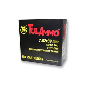 TulAmmo Rifle Ammunition 7.62x39mm 122 gr FMJ 2396 fps  100/ct